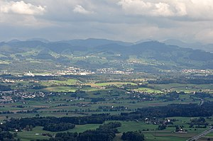 Hinwil - Hinwil as seen from Pfannenstiel, KEZO to the left (March 2010)