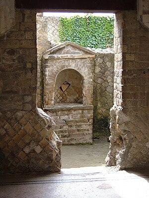Lares Familiares - Household altar in Herculaneum (Italy).