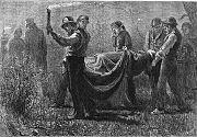 De nuit, des hommes transportent quelqu'un sur une civière (1876)