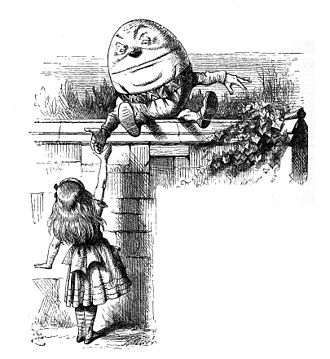 "Jabberwocky - Humpty Dumpty who explains to Alice the definitions of some of the words in ""Jabberwocky"". Illustration by John Tenniel, 1871"