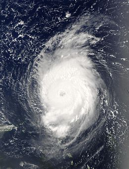 A view of Hurricane Fabian from Space on September 2, 2003. The intense Category 4 storm is located about 190 miles north-northeast of Barbuda. The storm's eye, visible near the center of the image, is over the open waters of the Atlantic Ocean.