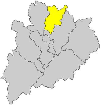 Sixian dialect - Jiaoling County (yellow) in Meizhou, Guangdong