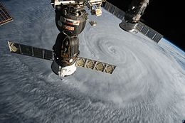 ISS-44 Typhoon Soudelor with Soyuz TMA-17M and Progress M-28M.jpg