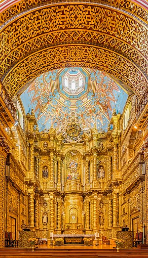 Main nave of the Church of the Society of Jesus, Quito, Ecuador.