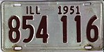 Illinois 1951 license plate - Number 854 116.jpg