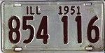 Illinois 1951 license plate - Number 854 116.jpg