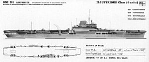 HMS Illustrious (87) - Office of Naval Intelligence recognition drawing of the Illustrious-class carriers