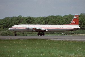 Interflug - An Interflug Ilyushin Il-18 during a chartered service at Gatwick Airport, United Kingdom (1985).