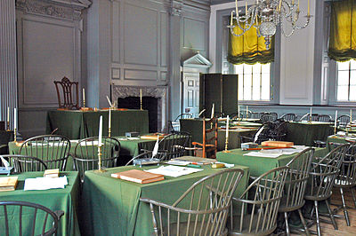 The Assembly Room in Philadelphia's Independence Hall, where the Second Continental Congress adopted the Declaration of Independence Independence Hall Assembly Room.jpg