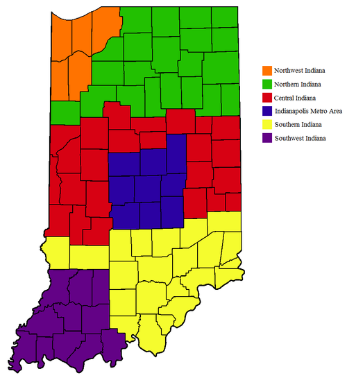 Regions of Indiana. IndianaRegions.png
