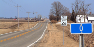 Indiana State Road 26 - Mile zero at the Indiana-Illinois border.