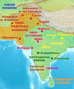 Influence (full line) of Indo-Parthian influence outside their homeland in eastern Iran.
