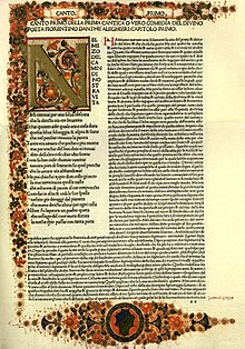 First page of an early printed edition of Dante's Divine Comedy with illuminated first letter and border decorations.