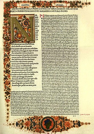 Italian literature - First page of an early printed edition of Dante's Divine Comedy.