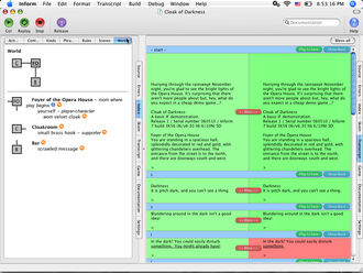 Inform - The Inform 7 IDE on Mac OS X showing the Index Map and the transcript