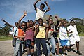 Informal football team celebrates, Hout Bay, Cape Town.jpg
