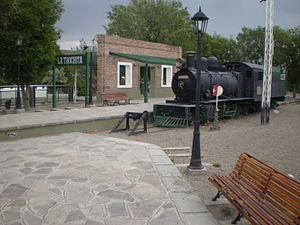 La Trochita - Former terminus Ingeniero Jacobacci and locomotive