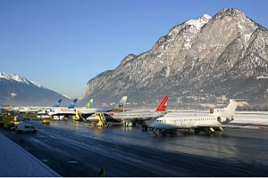 Apron full of aircraft at Innsbruck Airport