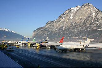 Innsbruck Airport - Apron during the winter season