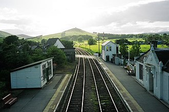 Insch railway station - View from Insch railway station looking west towards Hill of Dunnideer