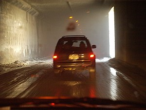 Salang Tunnel - A vehicle driving inside the tunnel