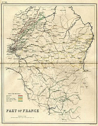 Minor campaigns of 1815 - Part of France engraved by J. Kirkwood, showing the invasion routes of the Seventh Coalition armies in 1815. Red: Anglo-allied army; light green: Prussian army; orange: North German Federal Army; yellow: Army of the Upper Rhine; dark green: Army of Italy.