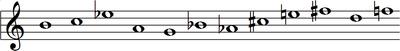 B, C, E ♭, A, G, B ♭, A ♭, C♯, E, F♯, D, F