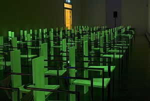Per Hüttner -  (In)Visible Dialogues, 2011, phosphorescent copies of J. Bolin's Chairs with catalogue, created by Abake (night)