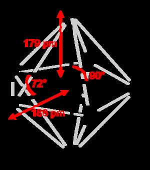 Iodine heptafluoride - Image: Iodine heptafluoride 2D dimensions