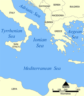 Part of the Mediterranean Sea south of the Adriatic Sea