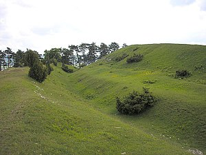 Rampart (fortification) - Earth ditch and rampart defences on the Ipf near Bopfingen, Germany