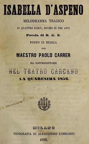Isabella d'Aspeno - Title page of the libretto published for the performances at the Teatro Carcano, Milan