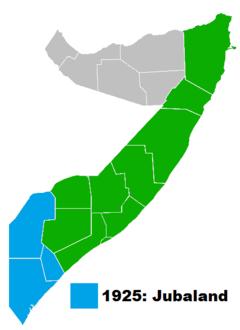 Kort over det moderne Somalia med de provinser som dannede Italienska Somaliland markerede i grønt.