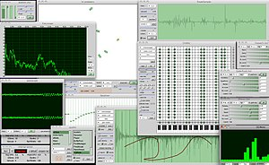 SuperCollider - Screenshot of SuperCollider running the ixiQuarks GUI tools.