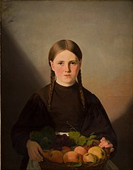A Girl with a Basket of Fruits