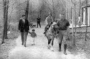 JFK & Kids with horse at Camp David, 1963
