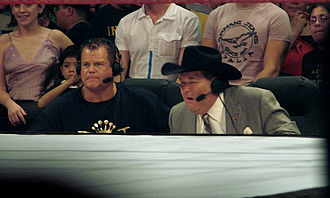 Jim Ross - Jerry Lawler (left) and Jim Ross (right) at the Raw commentators table.