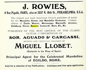 Silvio Ranieri - Advertisement for music publisher J. Rowies (Philadelphia, Pennsylvania) for mandolin sheet music. Artists include Ranieri and other mandolinists of his day, including Carlo Munier, Salvador Leonardi, Edgar Bara and Eduardo Mezzacapo. Taken from the book The guitar and mandolin, Biographies of celebrated players and composers for these instruments by Philip J. Bone, published by Schott and Company, London, 1914.