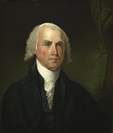 Portrait of James Madison c. 1821, by Gilbert Stuart JamesMadison.jpg