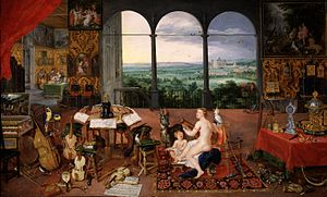 The Five Senses (series) - Image: Jan Brueghel I & Peter Paul Rubens Hearing (Museo del Prado)