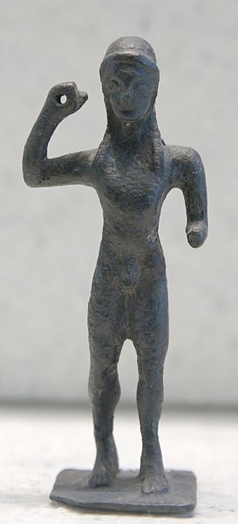 Javelin thrower. Bronze, Laconian style, third quarter of the 6th century BC Javelin thrower Louvre Br107.jpg