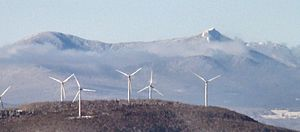 Big Jay - View of Big Jay (left) and Jay Peak (right) from Burke Mountain. The turbines of the Sheffield wind farm are in the foreground.
