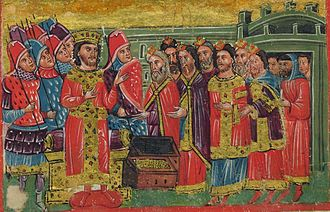 "History of the Jews in Greece - ""Byzantine Emperor"" Alexander the Great is offered gold and silver by the Rabbis."