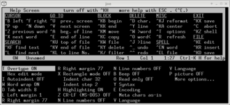 Joe's Own Editor - The upper part of the screen displays the integrated help, while the lower part of the screen shows the options menu. (The actual editing space in the middle is reduced to a single line for the sole purpose of making this compact illustration.)
