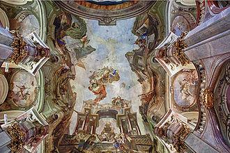 St. Nicholas Church (Malá Strana) - Image: Johann Lucas Kracker – Apoteóza sv. Mikuláše (1761, Praha)