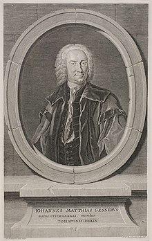 Johann Matthias Gesner. Titelkupfer des Novus Linguæ Et Eruditionis Romanae Thesaurus (1747) (Quelle: Wikimedia)