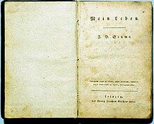 Mein Leben. Titelblatt des Erstdruckes 1813 (Quelle: Wikimedia)