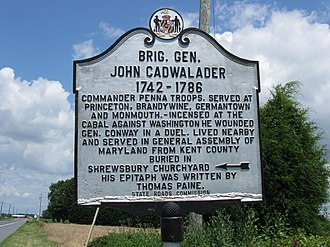 John Cadwalader (general) - Plaque commemorating Gen. John Cadwalader