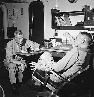 John S. McCain Sr. - Vice Admiral McCain (L) and Admiral William Halsey, Commander of the Third Fleet, hold conference on board battleship New Jersey en route to the Philippines in December 1944.