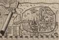 John Norden's map of Sussex in Chorographical Description - closeup of the Chichester insert.png